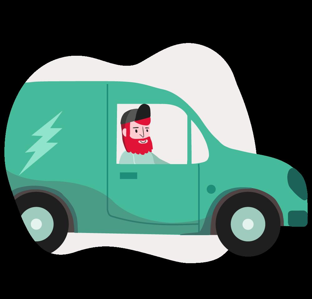 Elektriker i bil