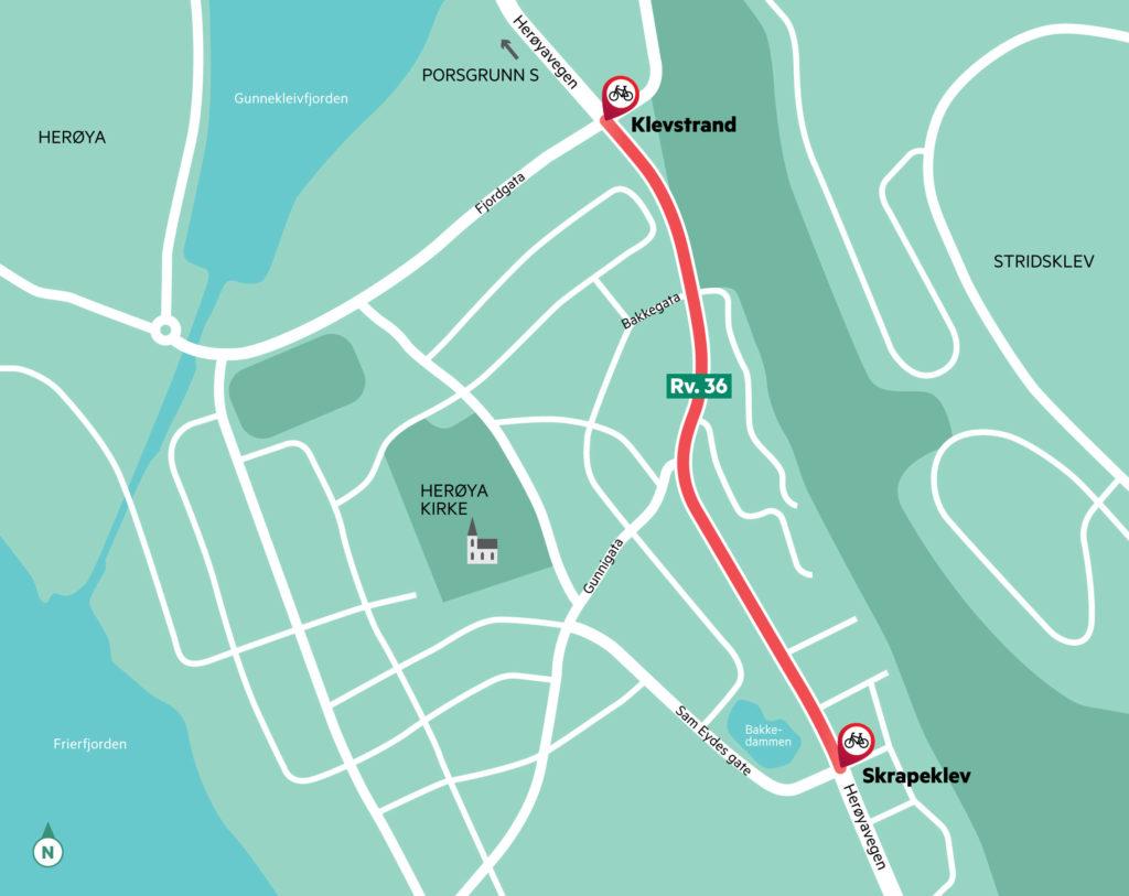 Strekningen Skrapeklev - Klevstrand hvor det skal bygges sykkelveg med fortau.